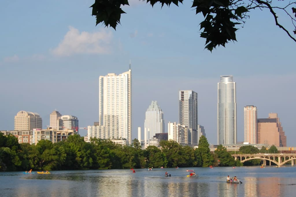 Lady Bird Lake and downtown, view from South shore (10 min walk from the studio).