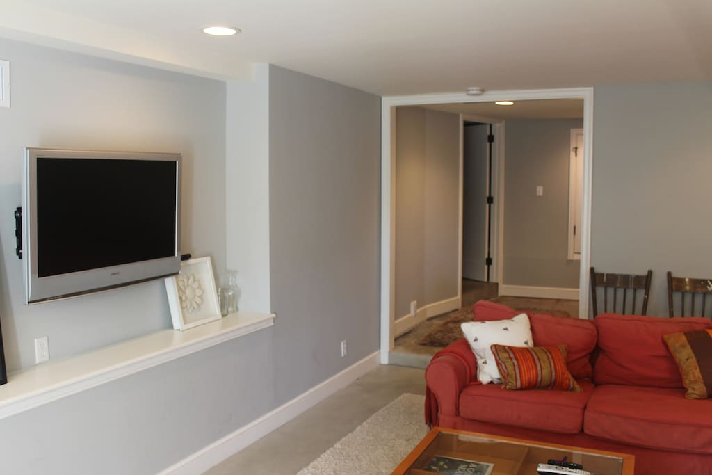 Roomy living area for relaxing and DirectTV viewing