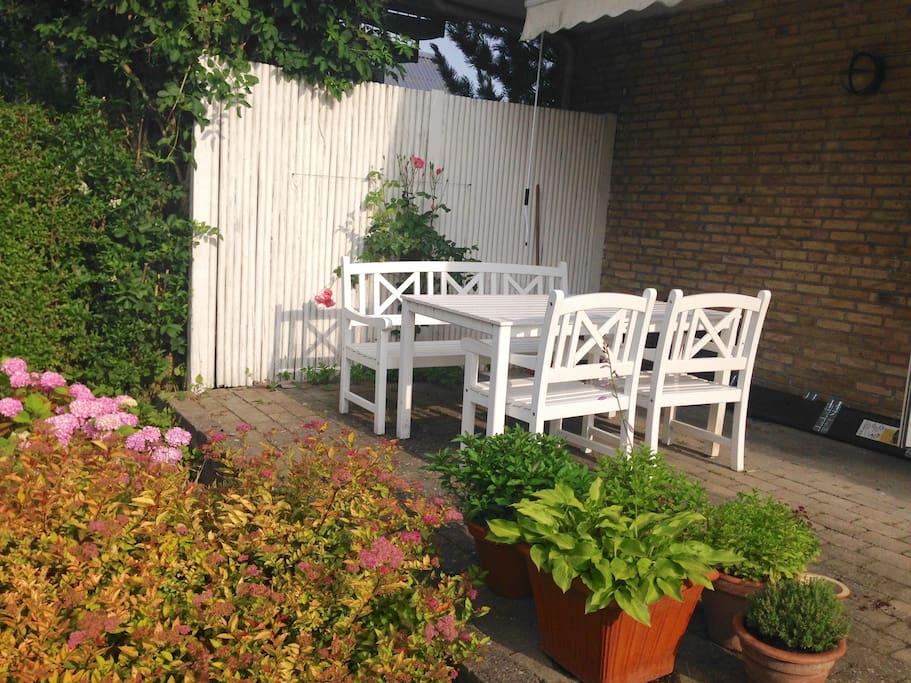 Nyd din frokost her på terrassen