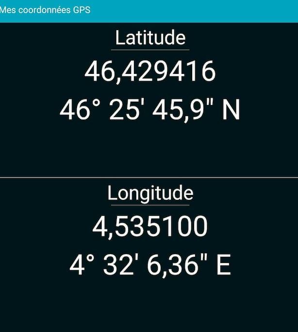 Coordonnées  GPS pour la maison.