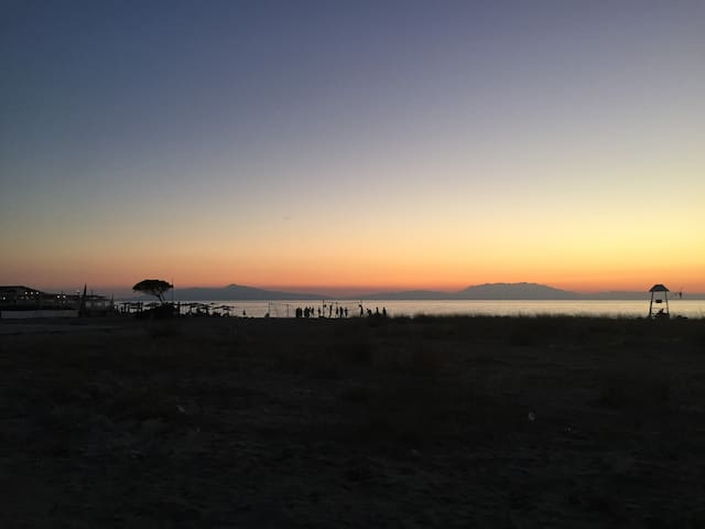 Fourka Beach with Mt. Olympus on the horizon. Only 170 meters from home!