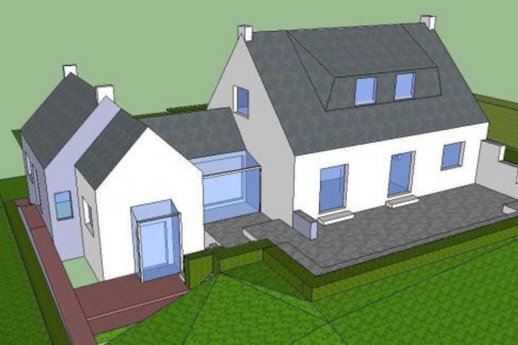 3D vue de la façade Sud