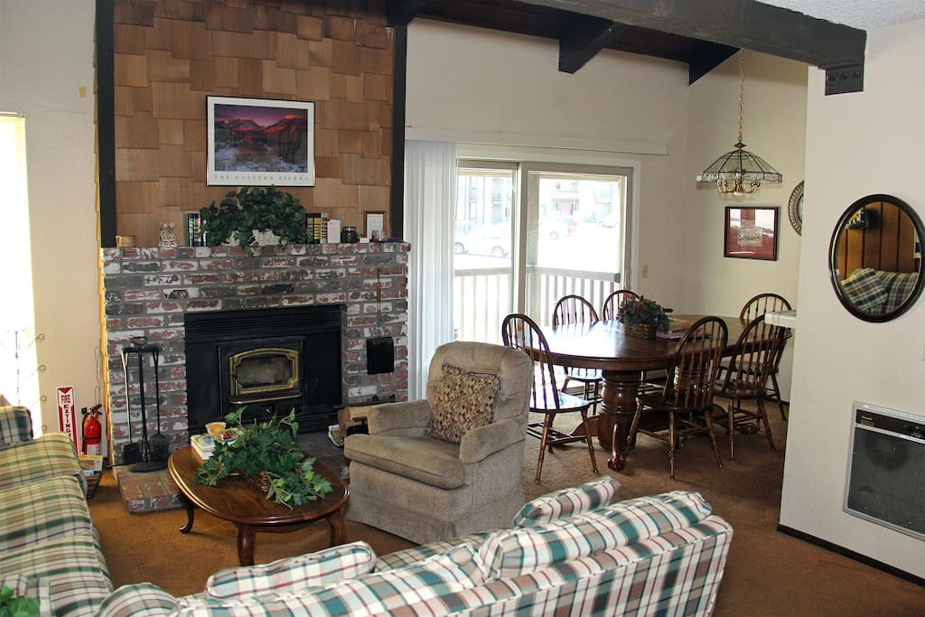Mammoth Condo Rental Chamonix 21 - Living Room with Wood Burning Fireplace
