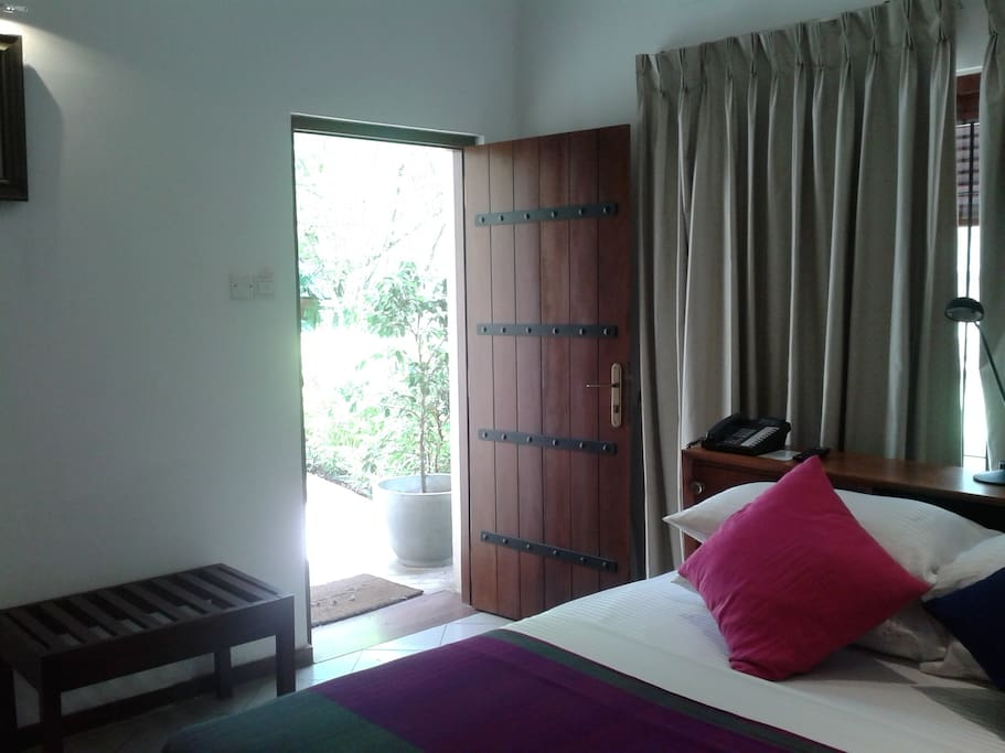 Entrance to your room is via the gardens