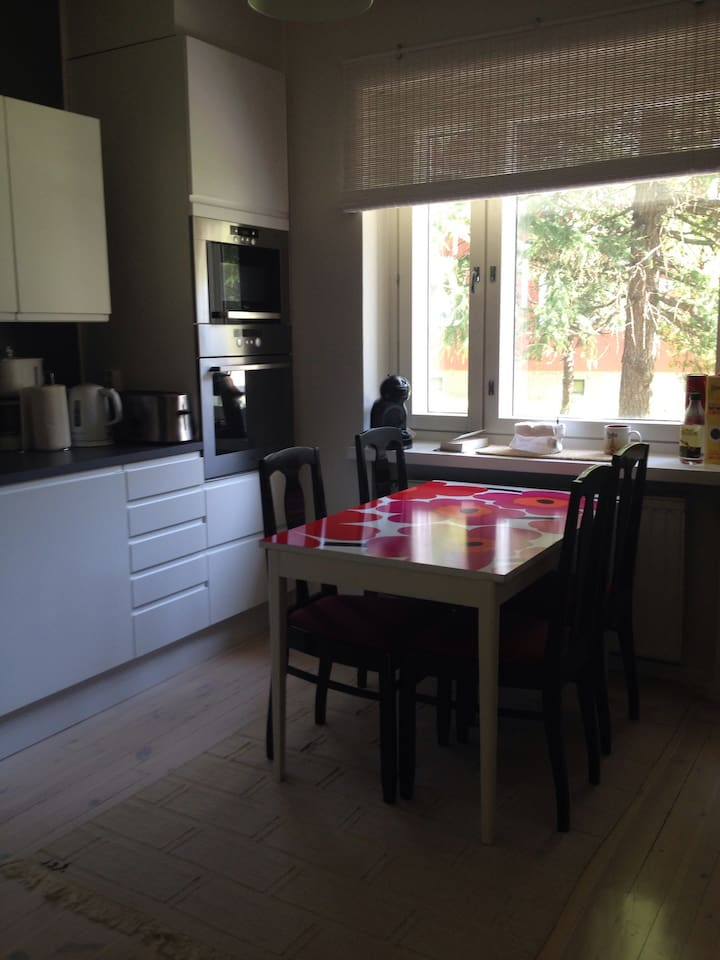 Large separate kitchen with oven, microwave, induction stove, coffeemaker, kettle and toaster.
