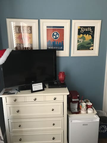 Keurig, mini fridge, TV with Hulu and Netflix and HDMI cord for hook up of personal laptop