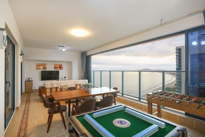 万科双月湾高层27楼轻奢夕阳一线海景&两厅两房两卫&自动麻将&足球机&可简厨&50米到沙滩&摇椅
