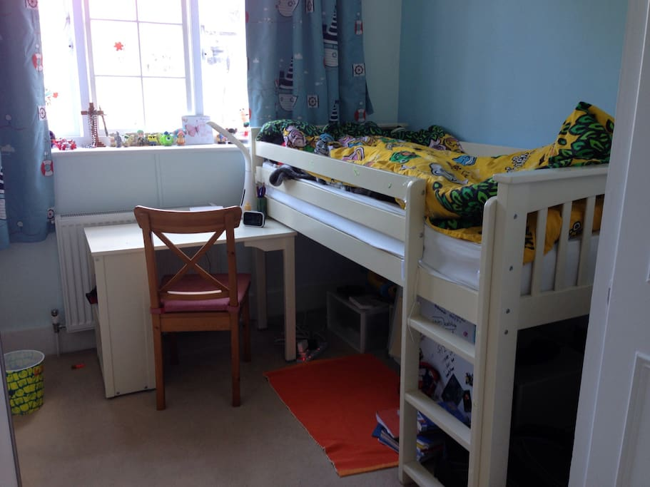 One bed, additional futon bed can be added on the floor for extra adult or child