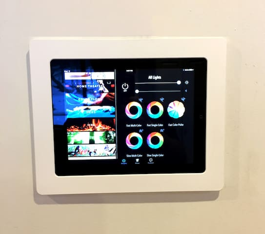 In-wall iPad for home automation - colored lighting & multi-zone sound system