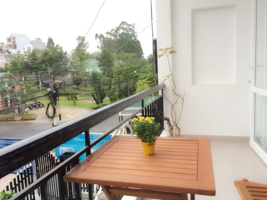 Enjoy the view of the park with a cup of coffee from our balcony