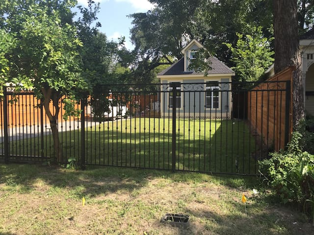 Secured Downtown Houston Location- Overlooking Downtown Skyline, Parking for 4 vehicles, Multiple Bike Trails Access within 1 block, 8 foot Privacy Fence with Electric Front Gate.  Historic Original 1912 House. Large Front Yard- Pick your own Lemons from Tree on Property.
