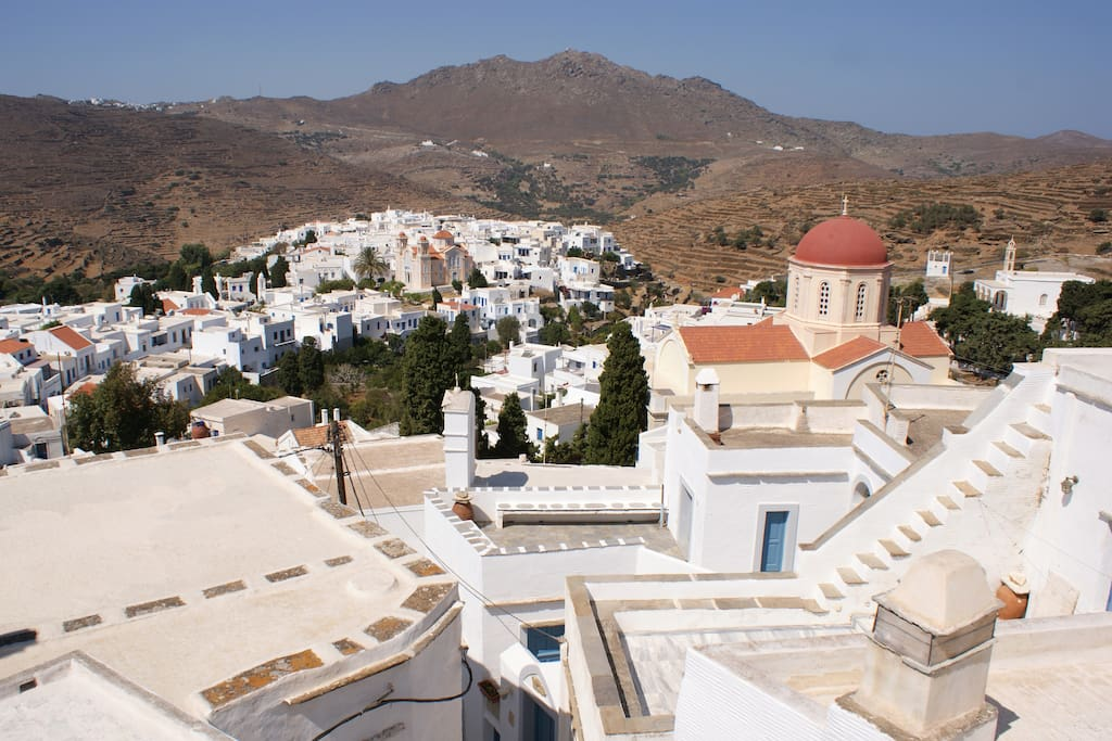 The panoramic view to the village of Pyrgos from the balcony.