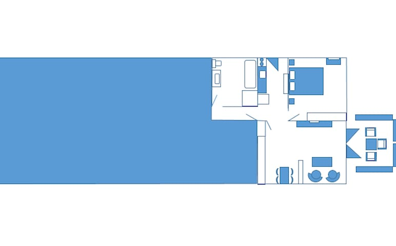 Apartment layout with outside private patio.