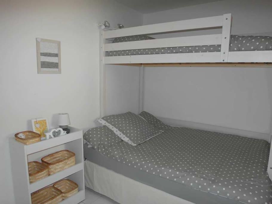 Bedroom has 1 x double and 1 x single mezzanine bed