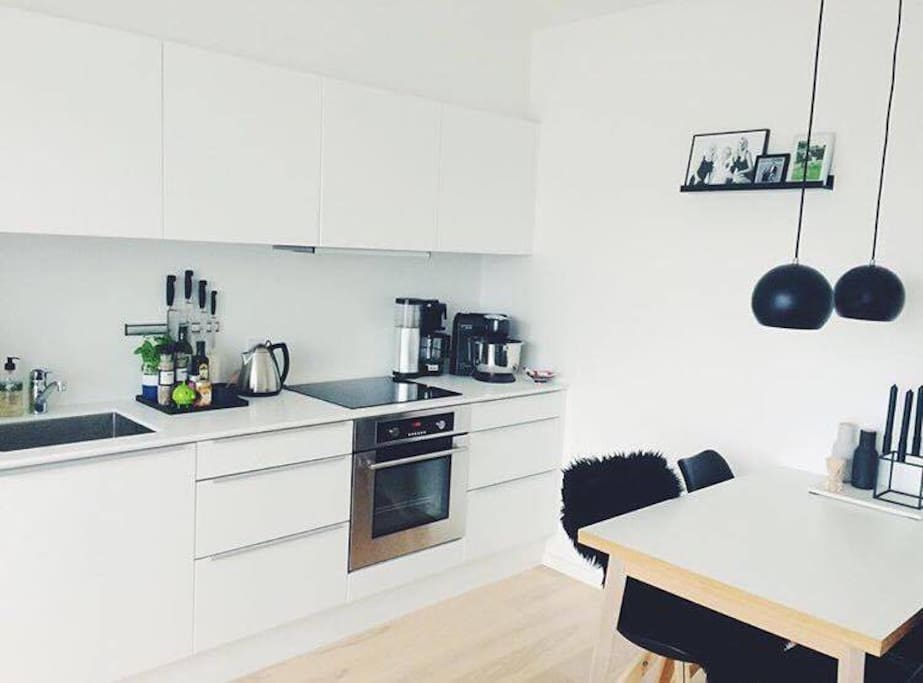 Bright and big kitchen/livingroom with a great view.