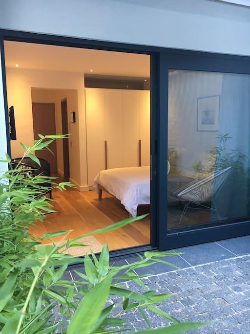 Calm contemporary studio with private courtyard
