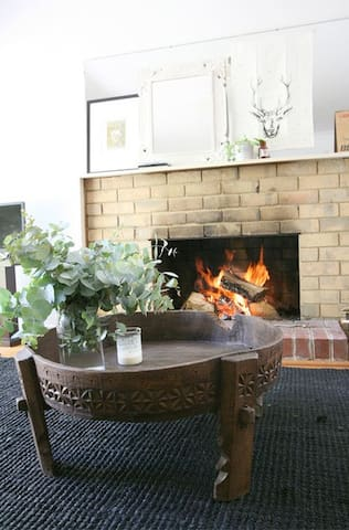 Open fireplace in living room