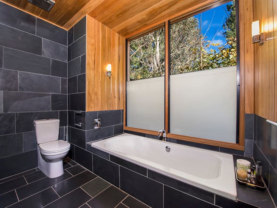 Bathroom with separate walk in shower