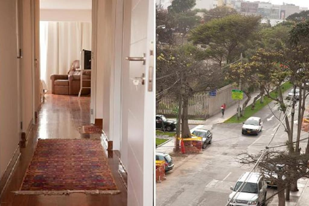 View of the hall and street view to one of the most safest and beautiful neighborhood in Miraflores.