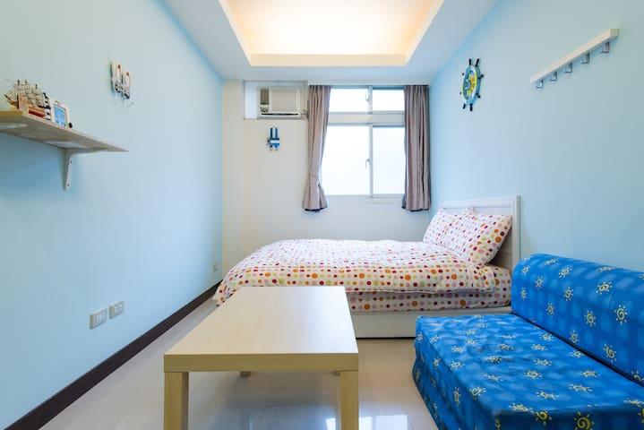 101世貿旁~海洋風可愛小屋~ 近四四南村,通化夜市 - Xinyi District - Appartamento