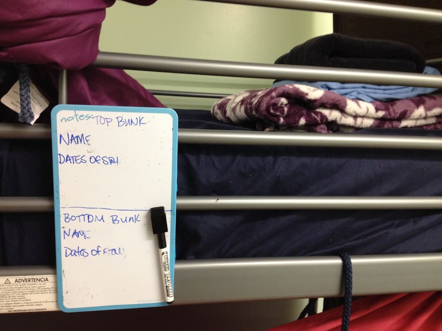 Top Bunk/Loft Beds are first come first claim. This listing is not for a specific top/loft bunk. Upon arrival top/loft beds are claimed by writing guest name and dates of stay on the dry erase board attached to the bed.