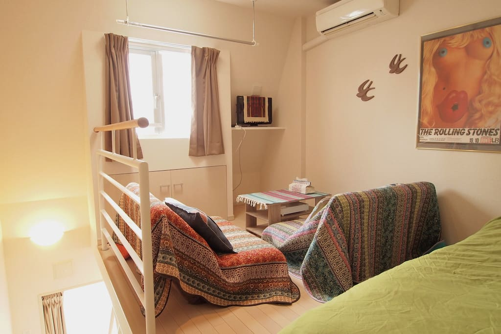 2nd floor. There are a Double bed and 2 Sofa beds (single size) in the studio.
