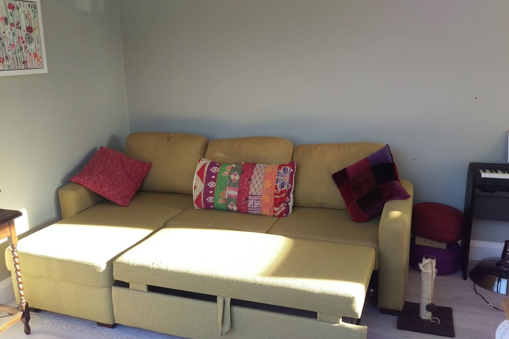 Sofa bed opens out to a proper solid double which is as least as comfy as a proper bed.