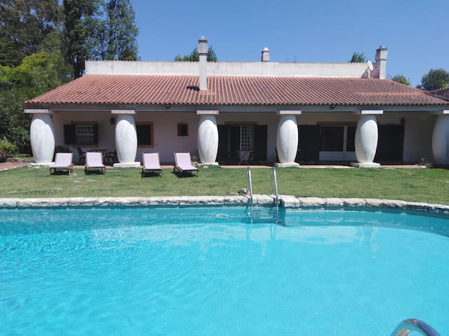 House and swimming-pool.