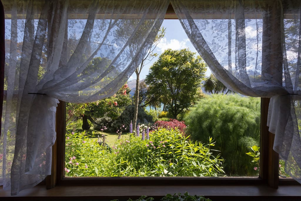 The garden view from the bedroom window.