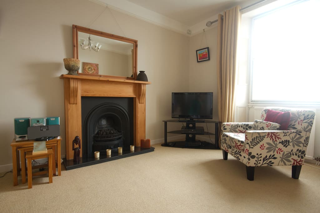 Comfortable and spacious lounge on first level with fabulous sea views