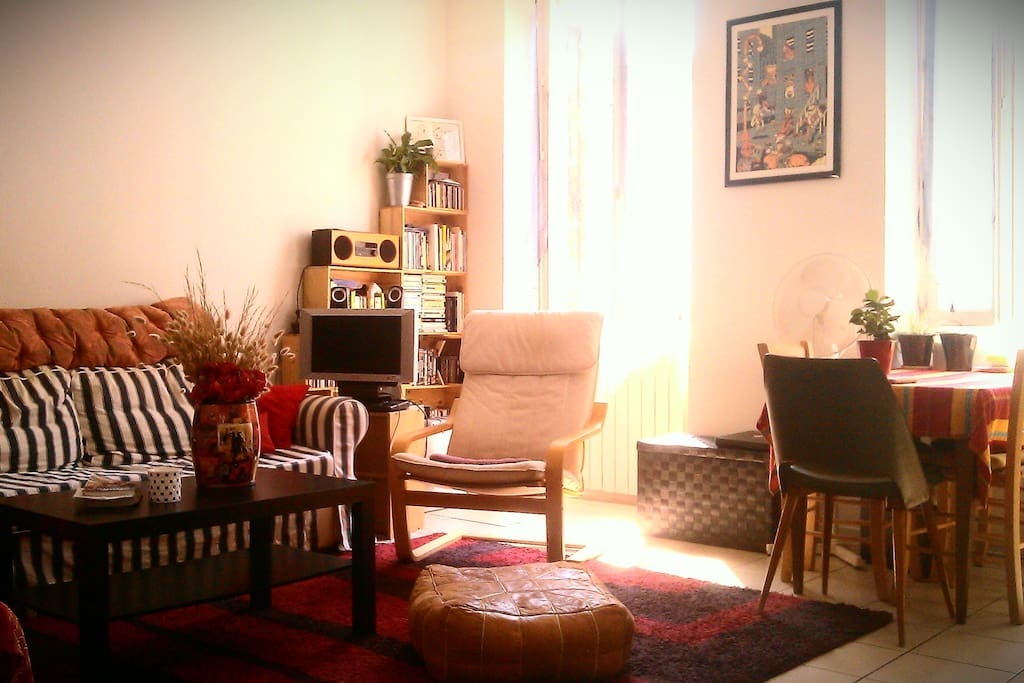 Salon spacieux et chaleureux