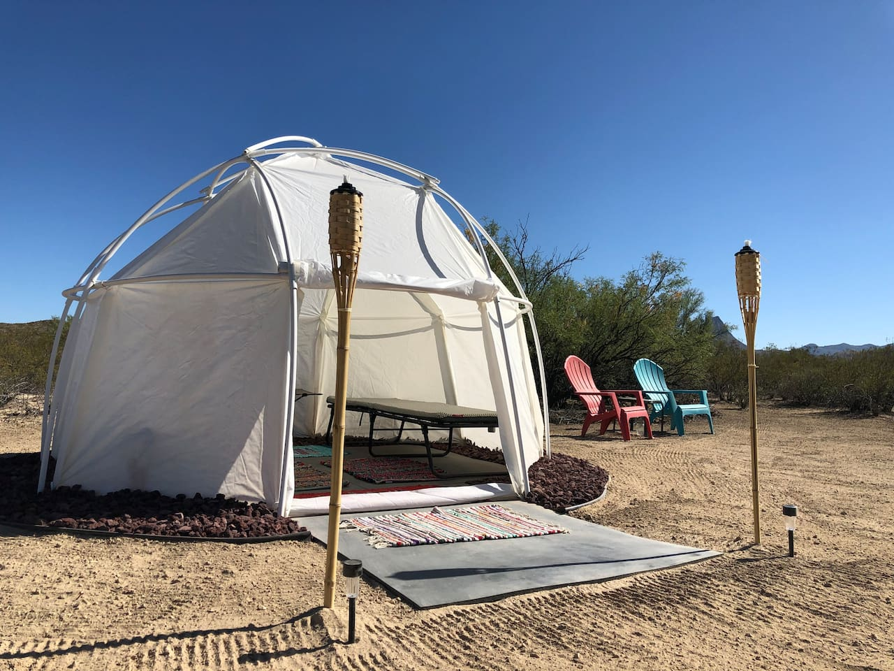 The Creosote Castle is a secure dome tent measuring 10 feet across.