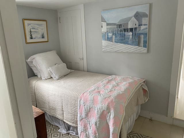 Second floor bedroom, twin sized bed.