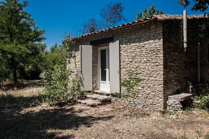 Stone house in provence field