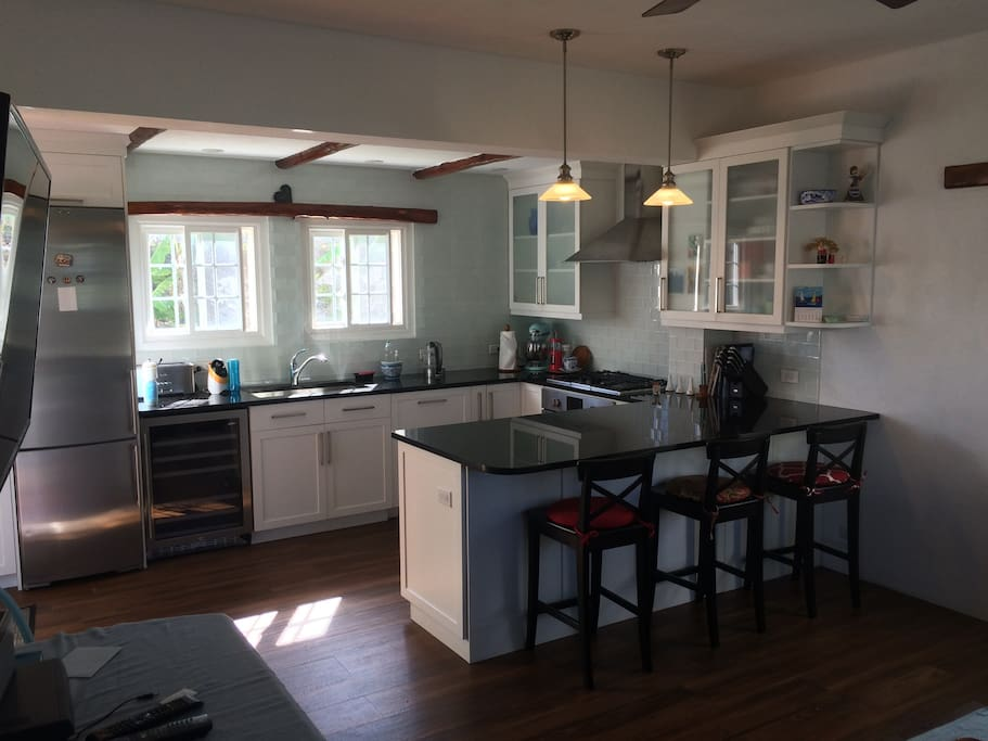 Newly built kitchen with stainless steel appliances