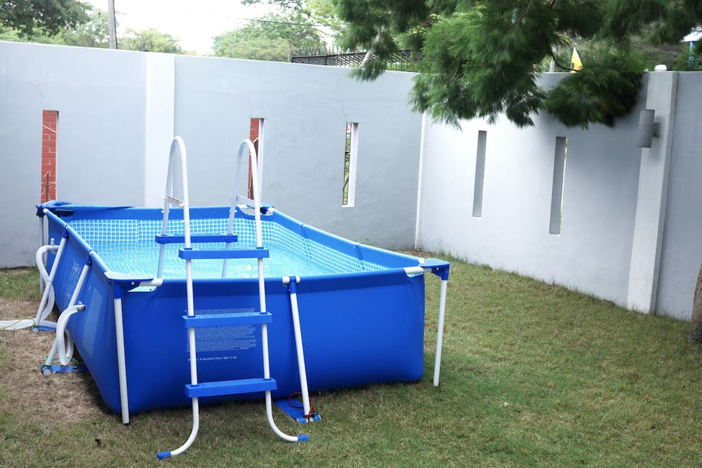 We have a small swimming pool for families to play with their kids in. Pool size: 3m x 2m x 0.75m (L x W x D).