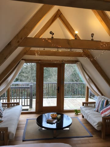 Oak barn studio with balcony