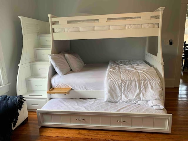 Bedroom #2 with twin top bunk, Queen and twin trundle.