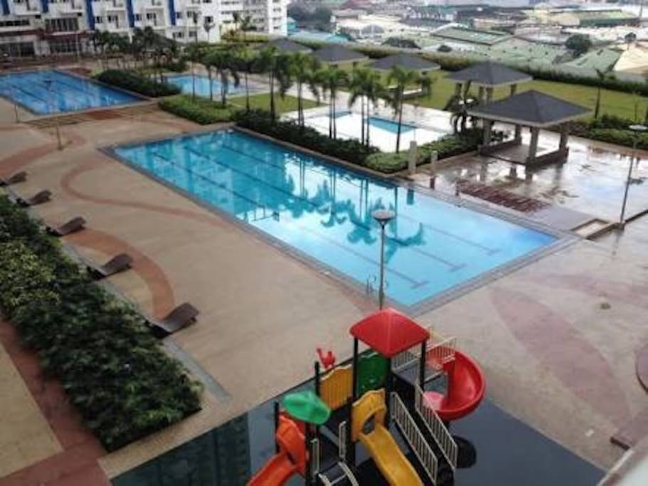 Full amenities access 2 adult lap pools 2 kiddie pools, 2 play areas and jogging paths