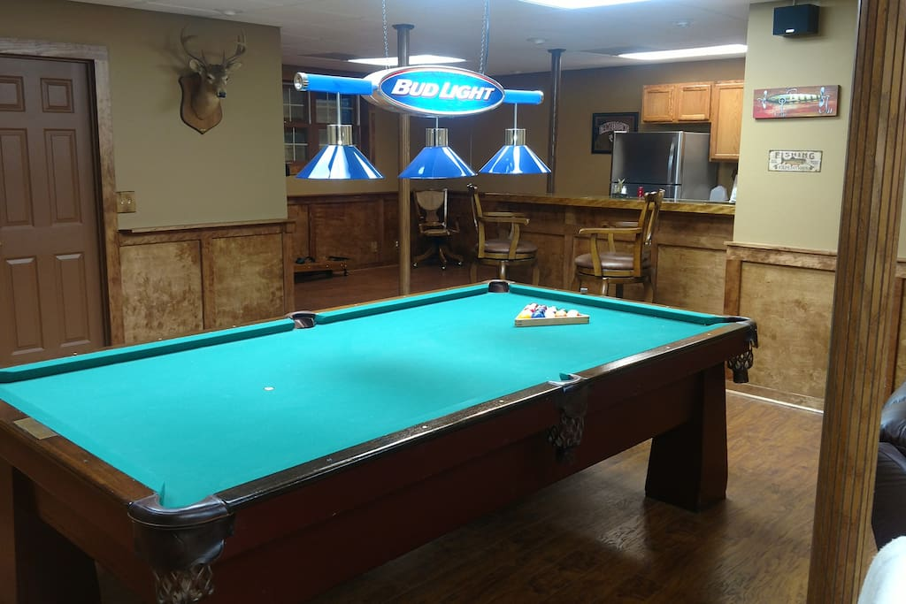 Man Cave Pool Table and Bar area