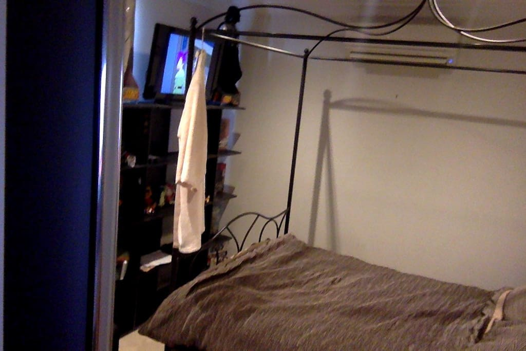 bedroom, dual system, tv, built in mirrored wartrobe, arm chair, double bed.