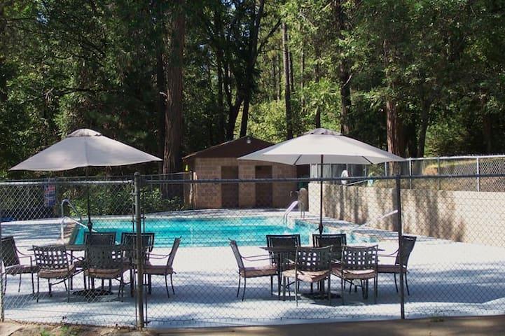 Pool is open during warm weather season.