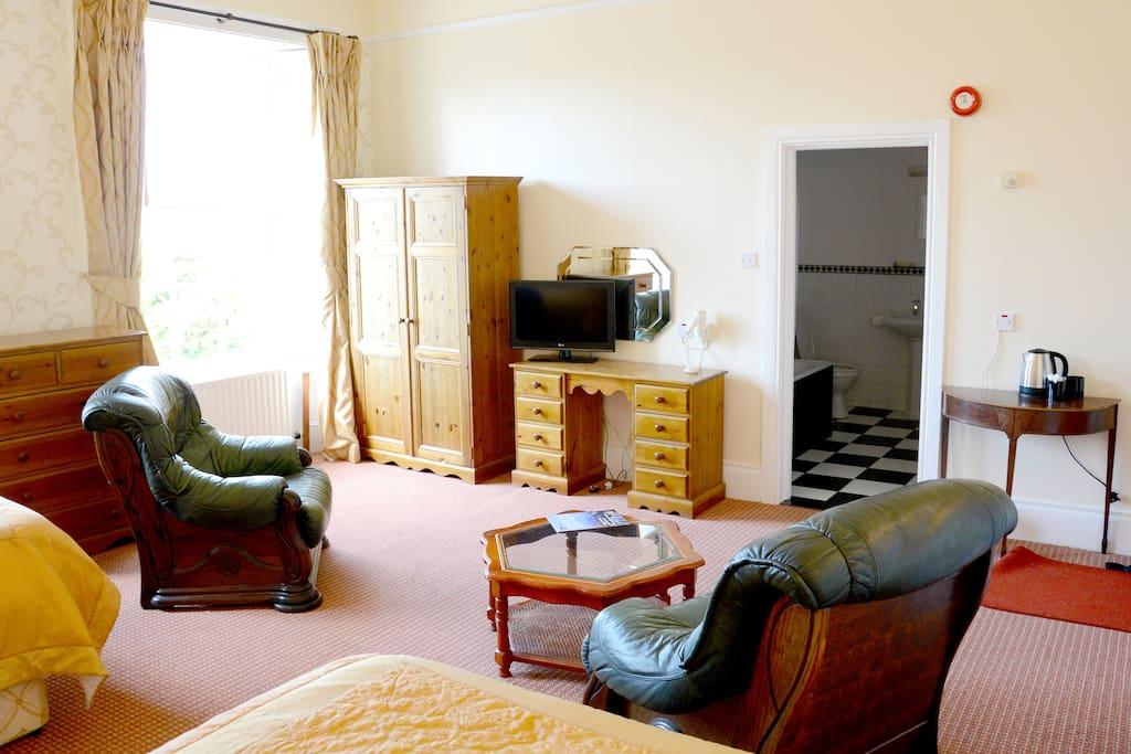 Lounge area, dresser and wardrobe