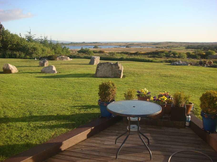 Decking area and views towards Galway Bay and beyond.