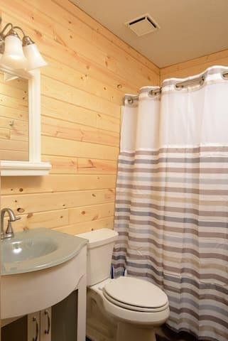 Updated northern pine bathroom.