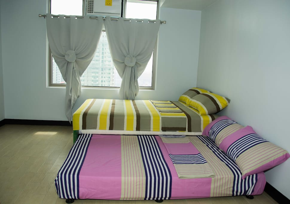 First Room: Two Double Beds, good for four people