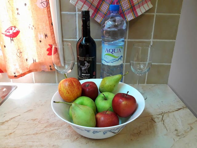 A large complimentary bottle of wine and water. Seasonal fruit is also offered. (All For Free)