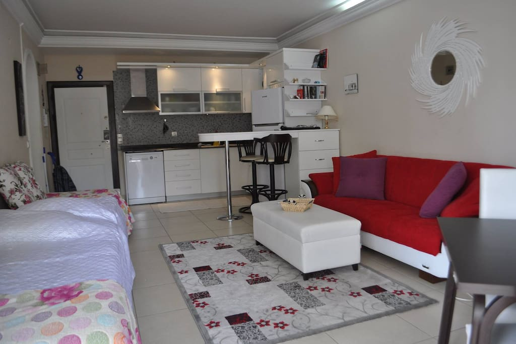 Livingroom with kitchen part and two extra beds. The sofa is also a bedsofa.
