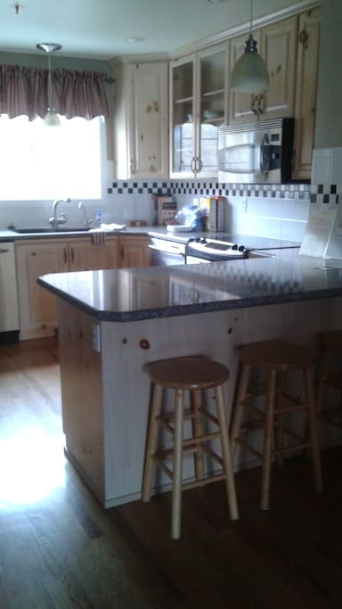 furnished Kitchen with oven, stove, microwave, fridge and freezer, dishwasher, trash compactor and more
