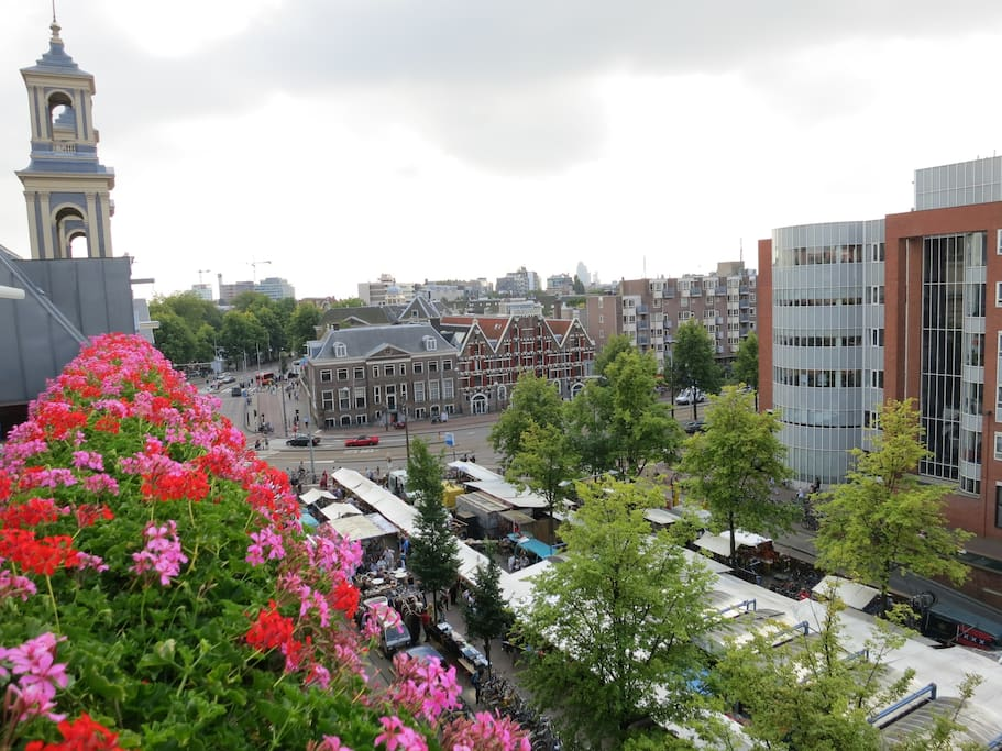 View from roof terrace on the Waterlooplein market and  Mozes and Aaron church